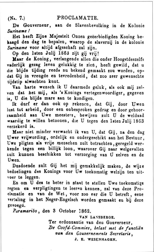 Proclamatie afschaffingslavernij Suriname108